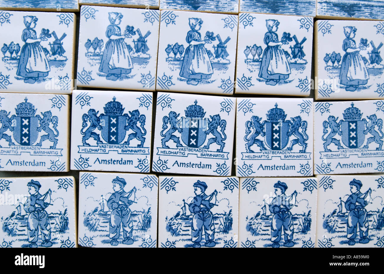 Traditional dutch ceramic Delft Ware designs on fridge magnets for ...