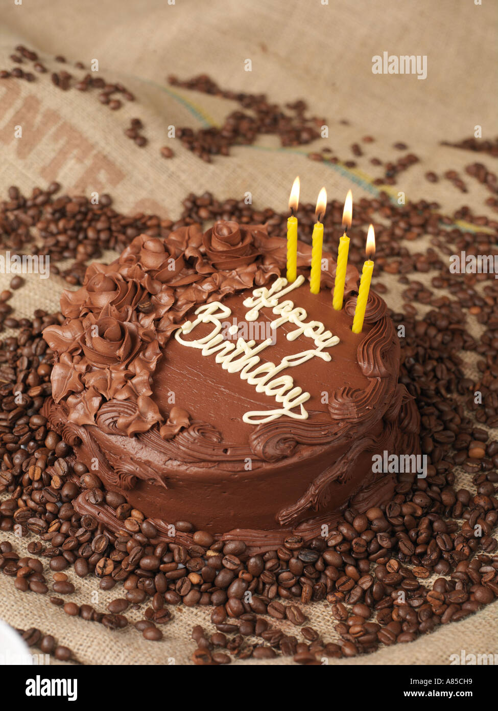 Chocolate Birthday Cake Four Candles Stock Photos Chocolate
