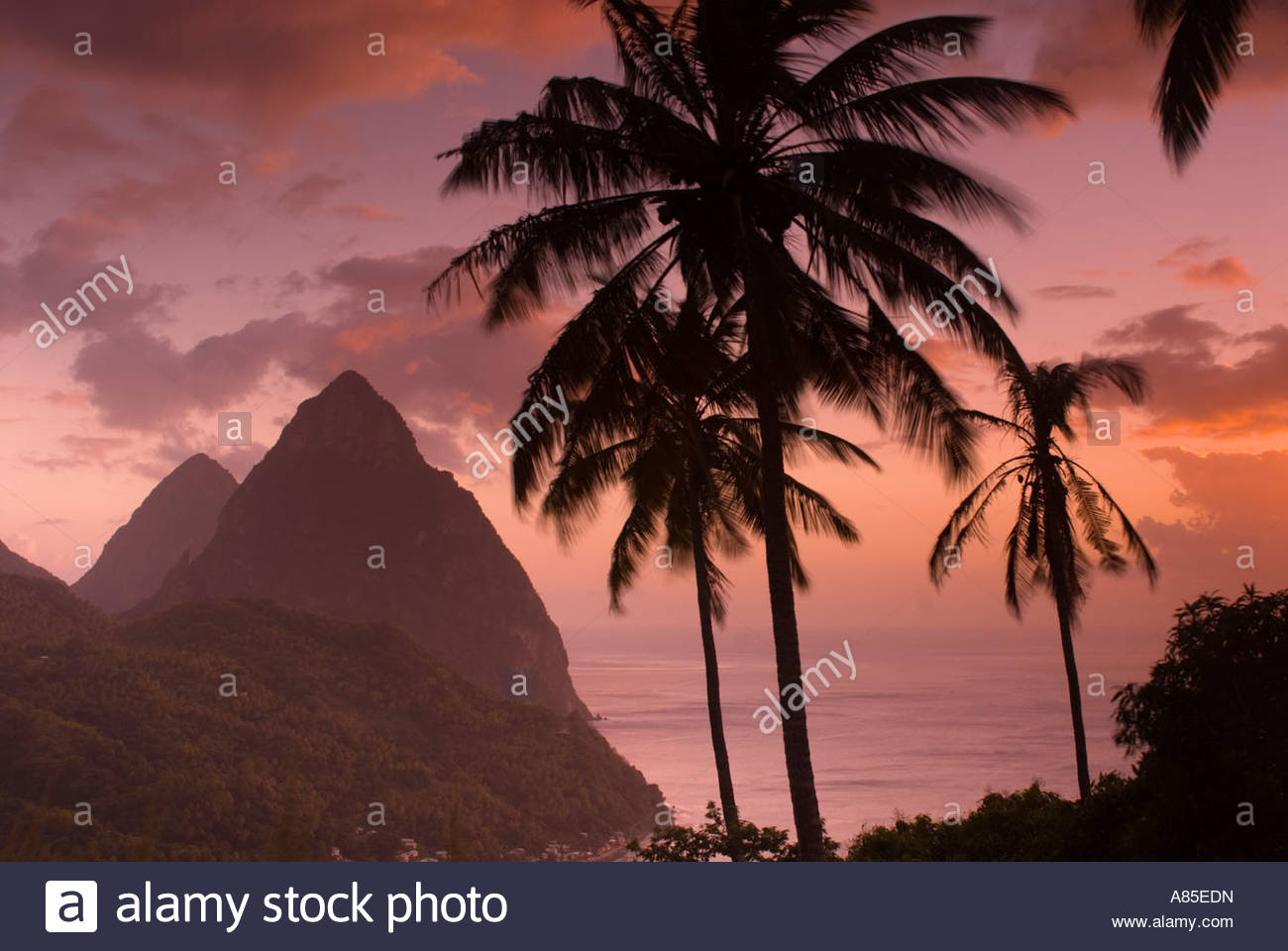 The Pitons at sunset, St Lucia, Windward Islands, Caribbean - Stock Image
