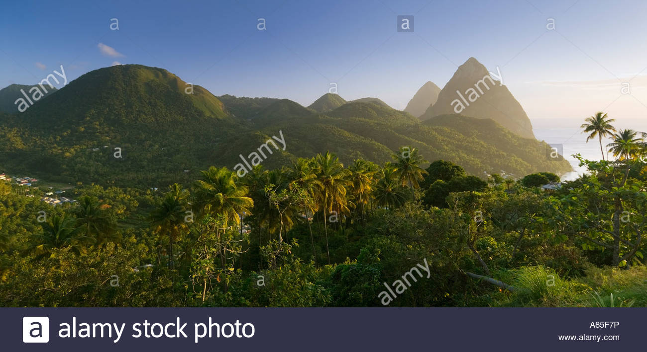 Panoramic view of the Pitons, St Lucia, Windward Islands, Caribbean - Stock Image