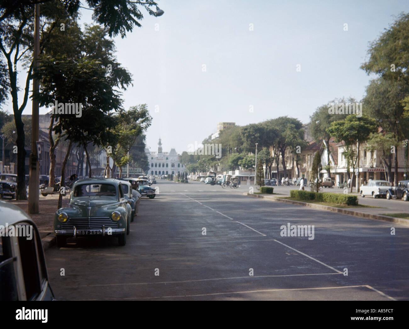 Avenue in City Centre in 1960, Saigon, Vietnam - Stock Image