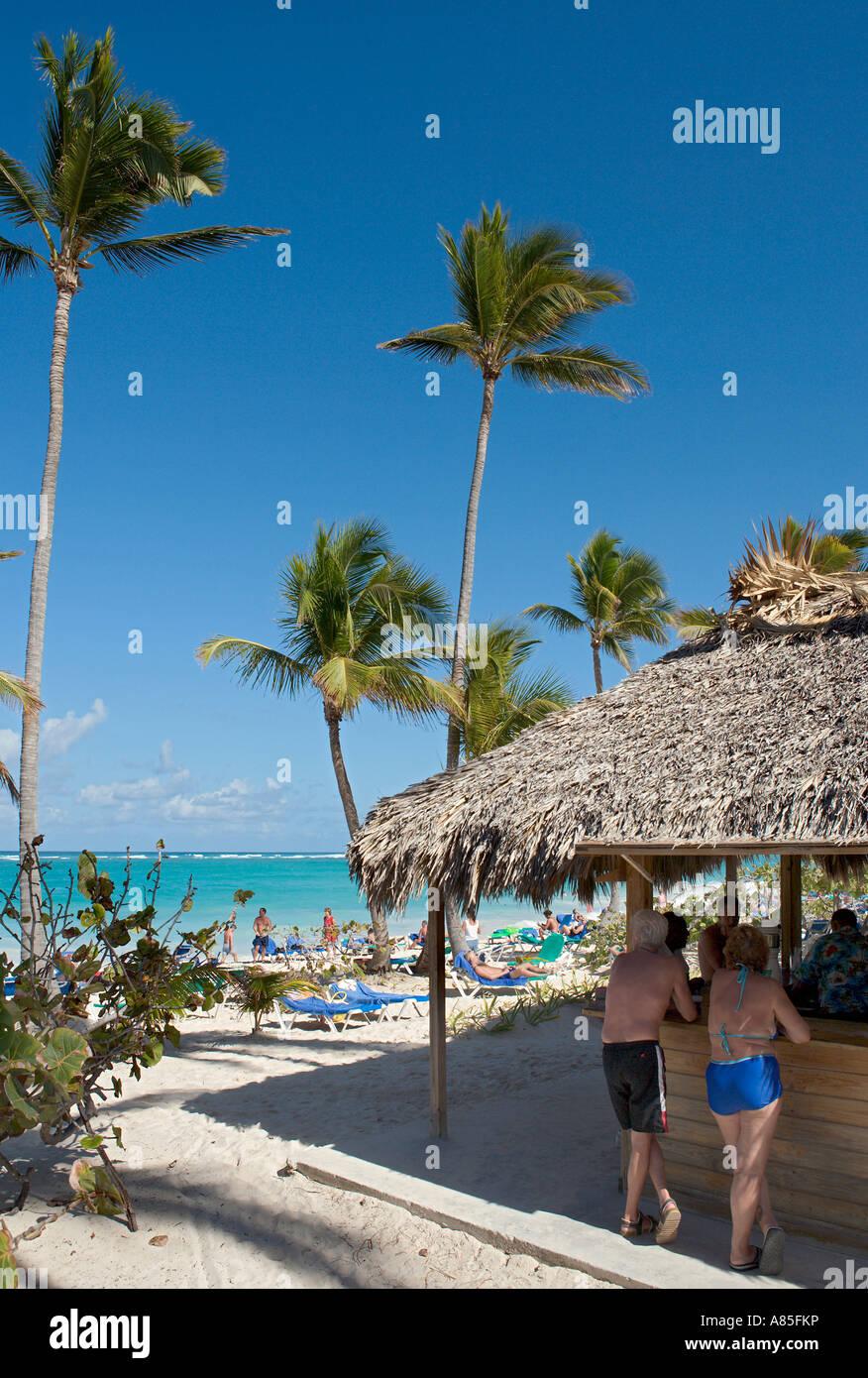 beach bar at the hotel palladium bavaro bavaro punta cana stock
