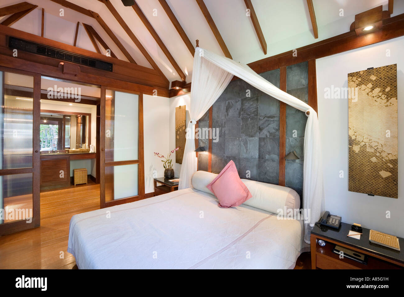 Luxury Hotel Bedroom Standard Room At The Chedi Phuket Hotel Stock