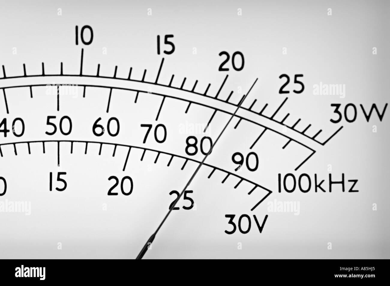 Meter Display, Close Up. - Stock Image