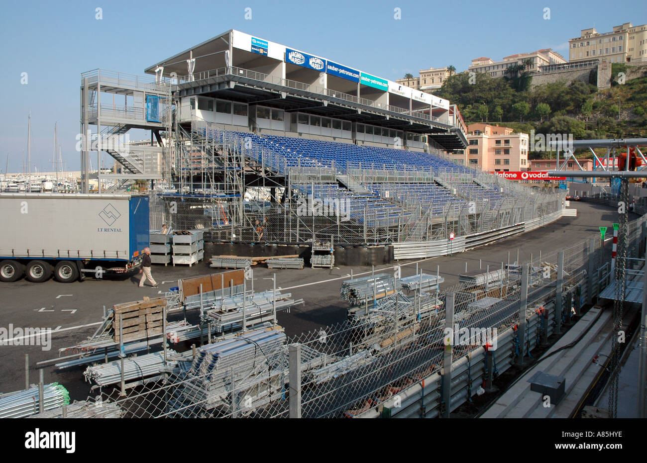 Monaco's famous Grand Prix track viewed from the pits, Port Hercule, Monaco-Ville, Monaco - Stock Image