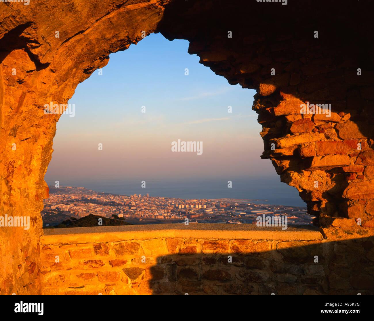 VIEW OF MATARO FROM BURRIACH CASTLE, CABRERA DE MAR, BARCELONA PROVINCE, CATALONIA, SPAIN - Stock Image