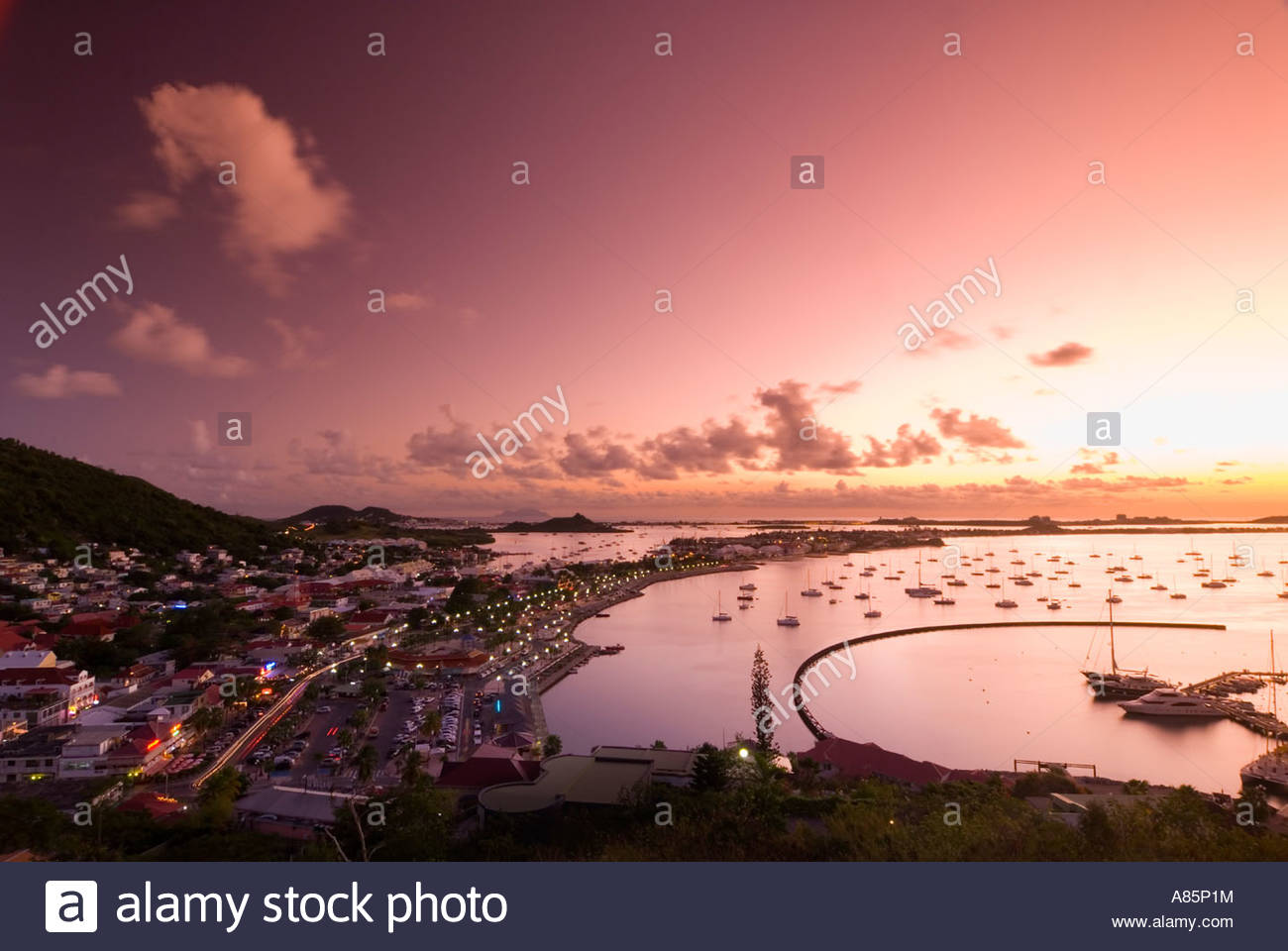Elevated view of Marigot at sunset, from Fort St Louis, Saint Martin, French Antilles, Leeward Islands, Caribbean. - Stock Image