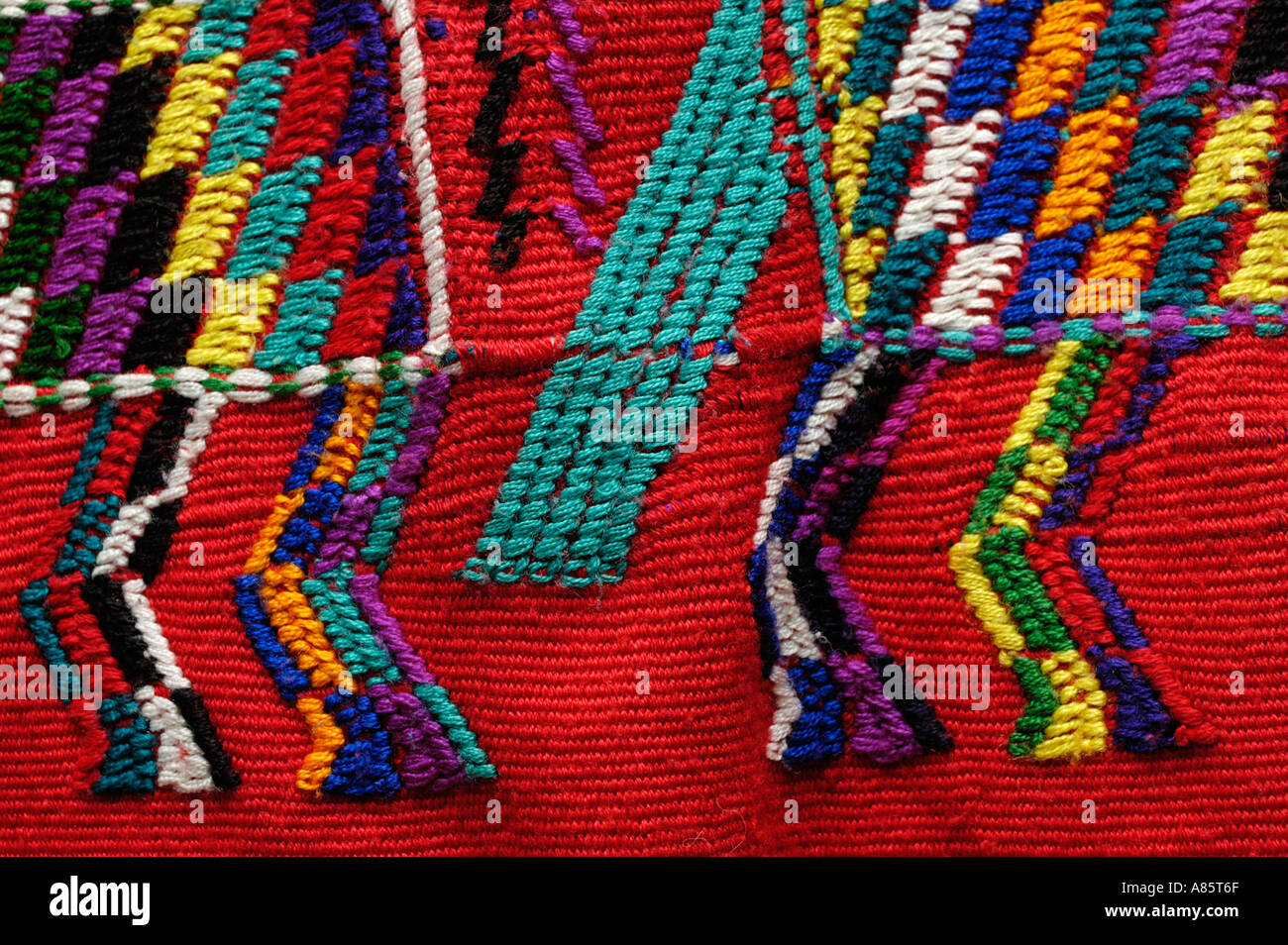 Guatemalan Mayan huipil red woven in Nebaj or the Ixil Triangle - Stock Image