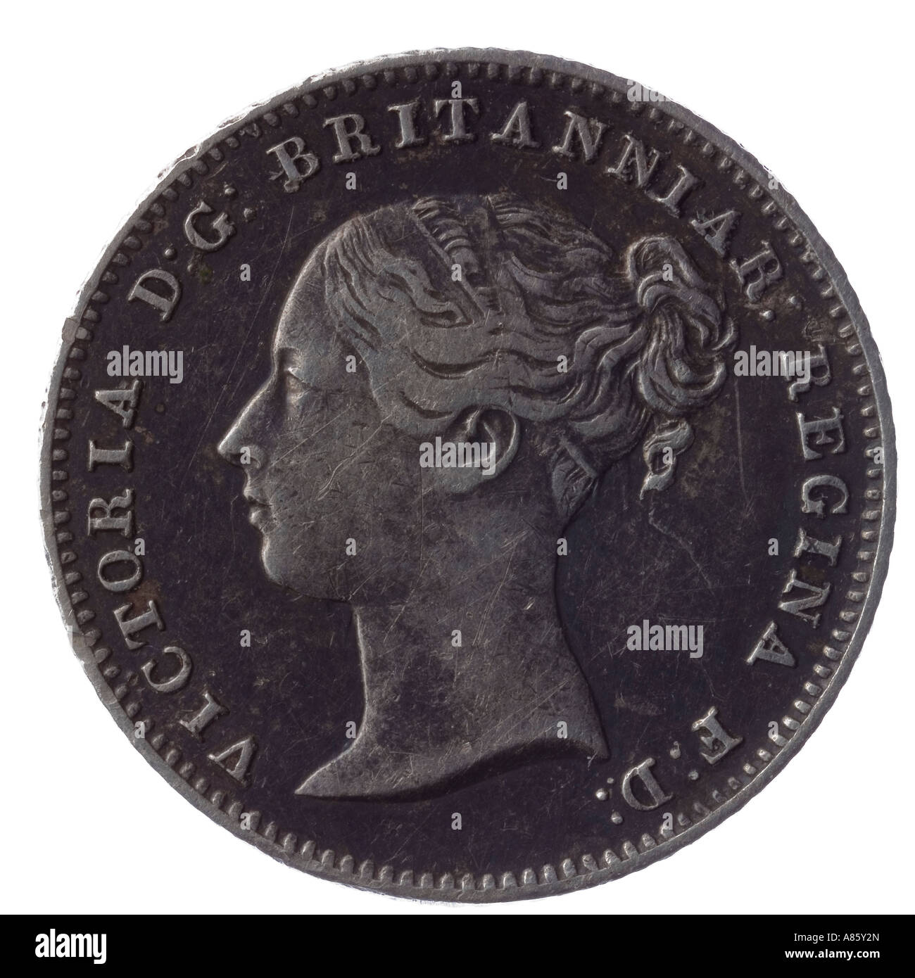 1838 Victoria groat coin 4 pence 4p fourpence silver young head britannia - Stock Image