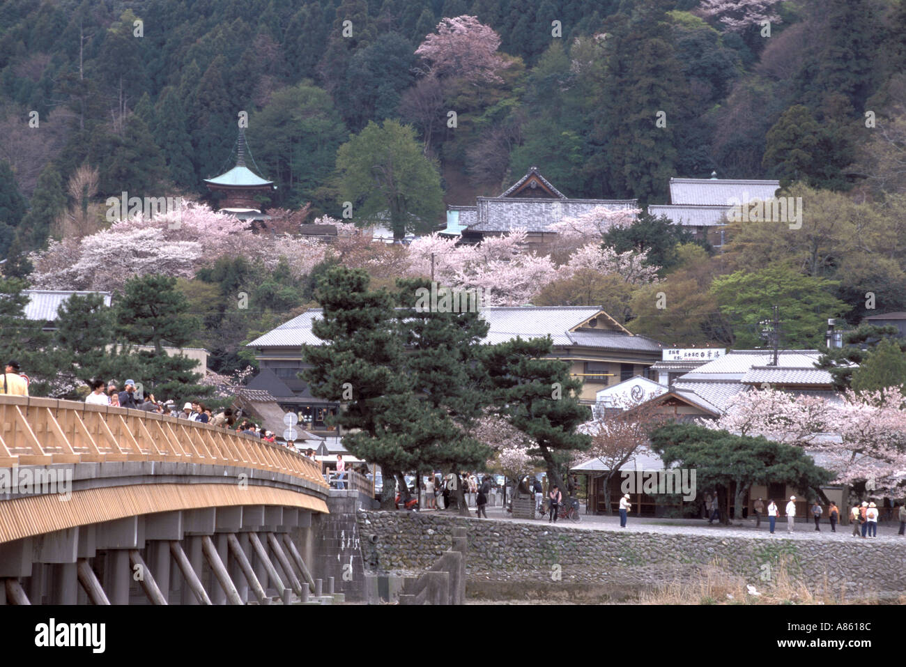 The famous Togetsukyo bridge in Arashiyama, Kyoto is one of the most popular in Japan and appears in many historical stories - Stock Image