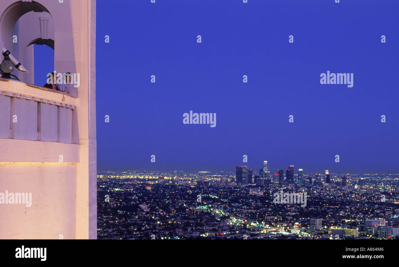 Los Angeles urban sprawl at twilight from Griffith Park Observatory - Stock Image
