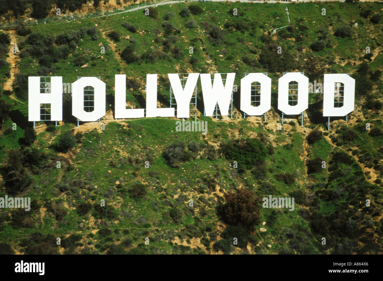 Aerial view of Hollywood sign in Hollywood Hills, California - Stock Image