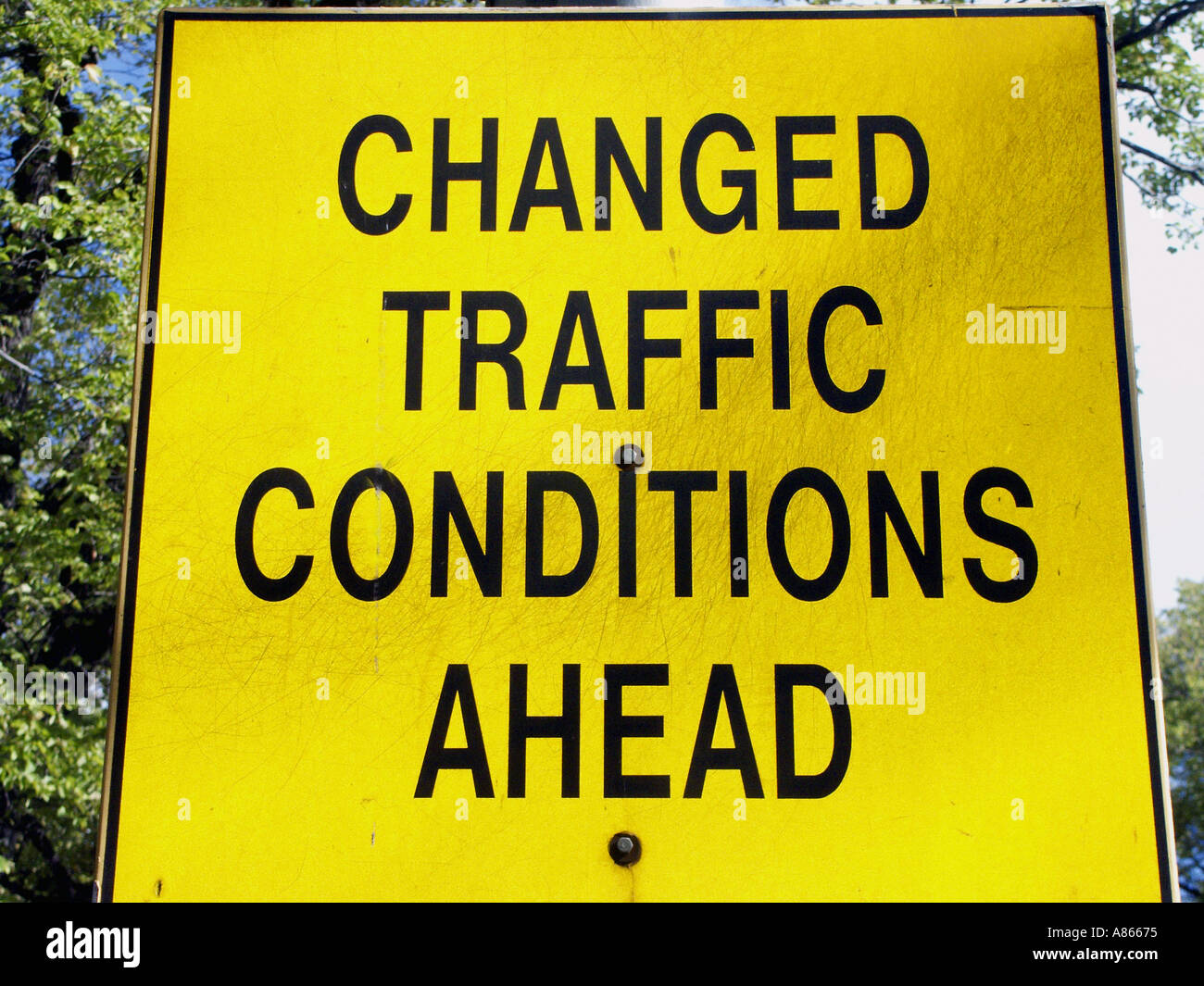 Changed Traffic Conditions Ahead road sign - Stock Image