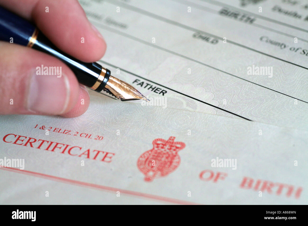 naming father on birth certificate - Stock Image