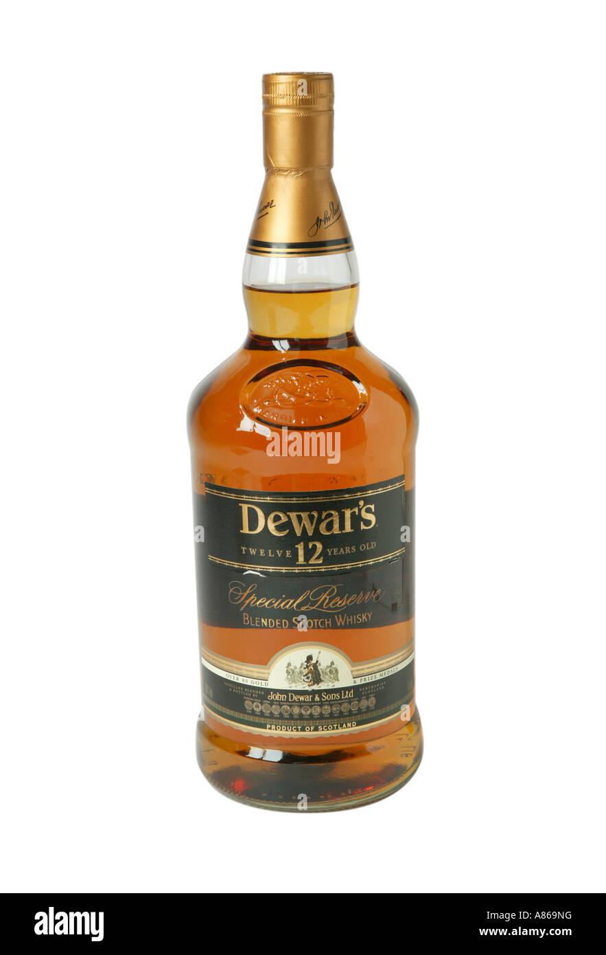 Dewars 12 year old whiskey on studio white backgroundDw - Stock Image