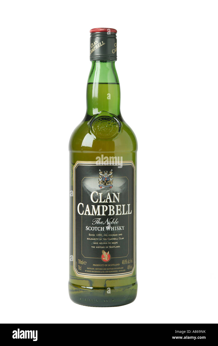 Clan Campbell whiskey on studio white background shpwing yellow whiskey colr through glass - Stock Image