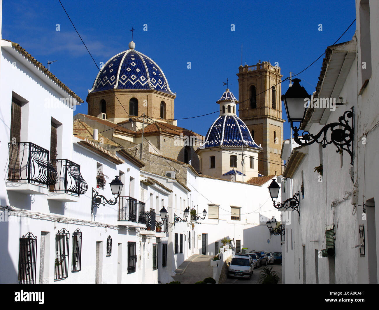 The old town of Altea at the Costa Blanca with the wellknown dome church Stock Photo