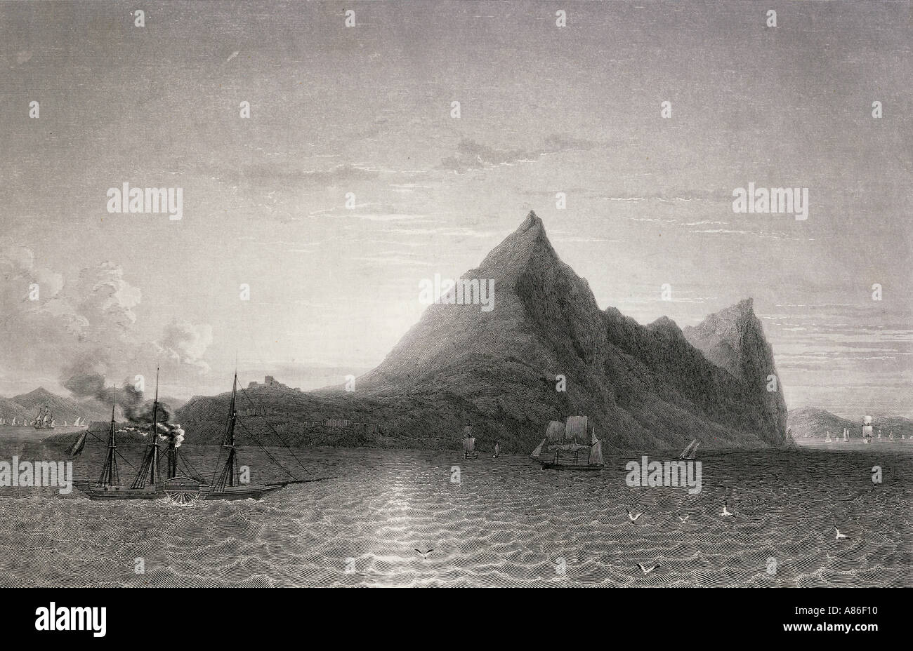 Gibraltar with steam ship and sailing ship, 19th century. - Stock Image