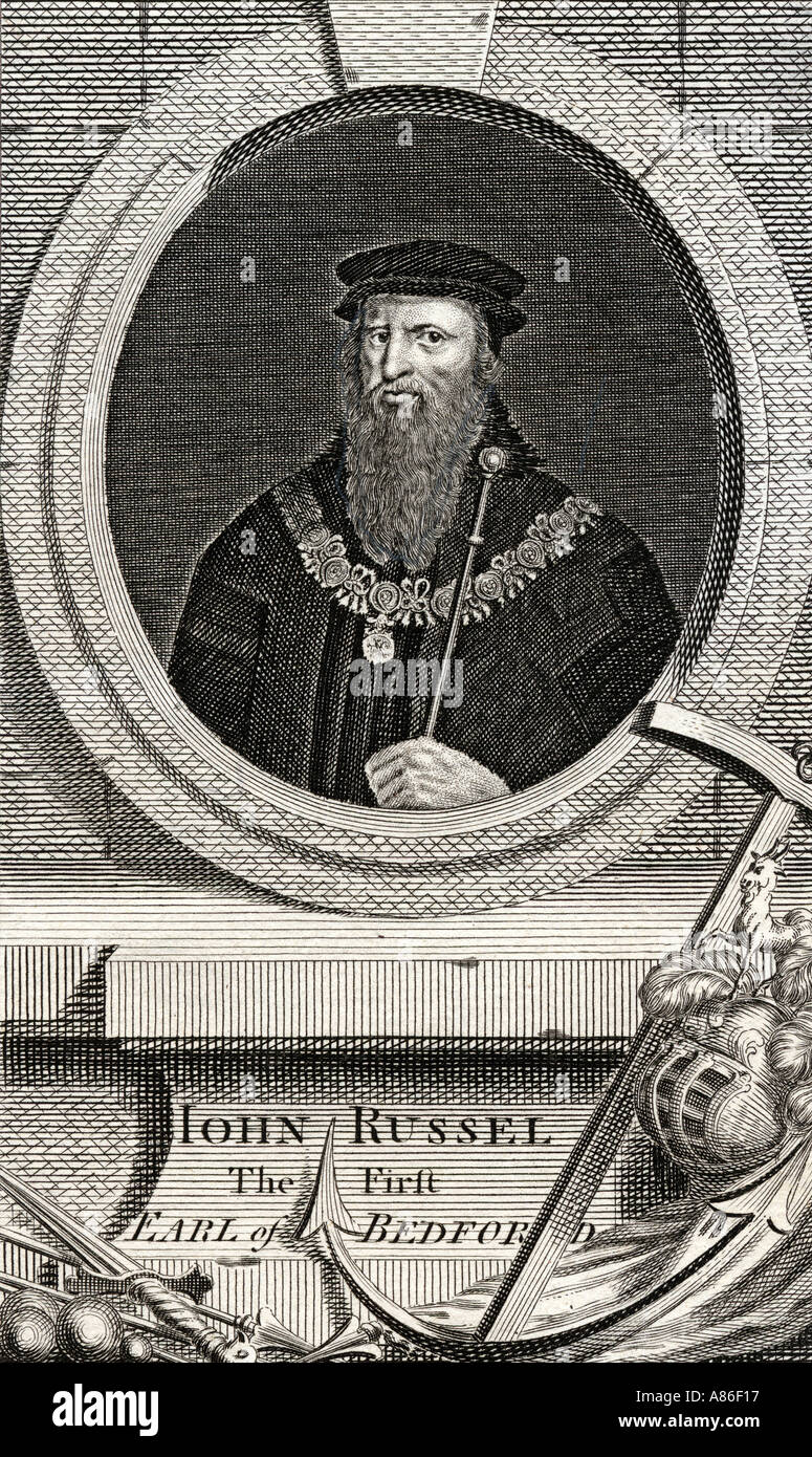 John Russell, 1st Earl of Bedford, 1485 - 1555.  Founder of the House of Russell. - Stock Image