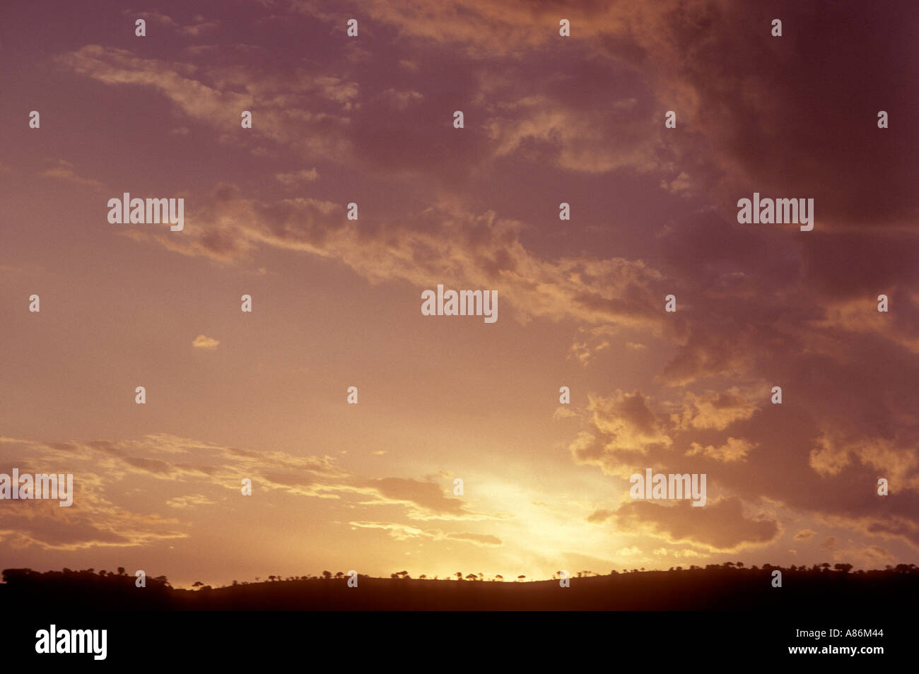 Sky with dawn glow over Africa - Stock Image