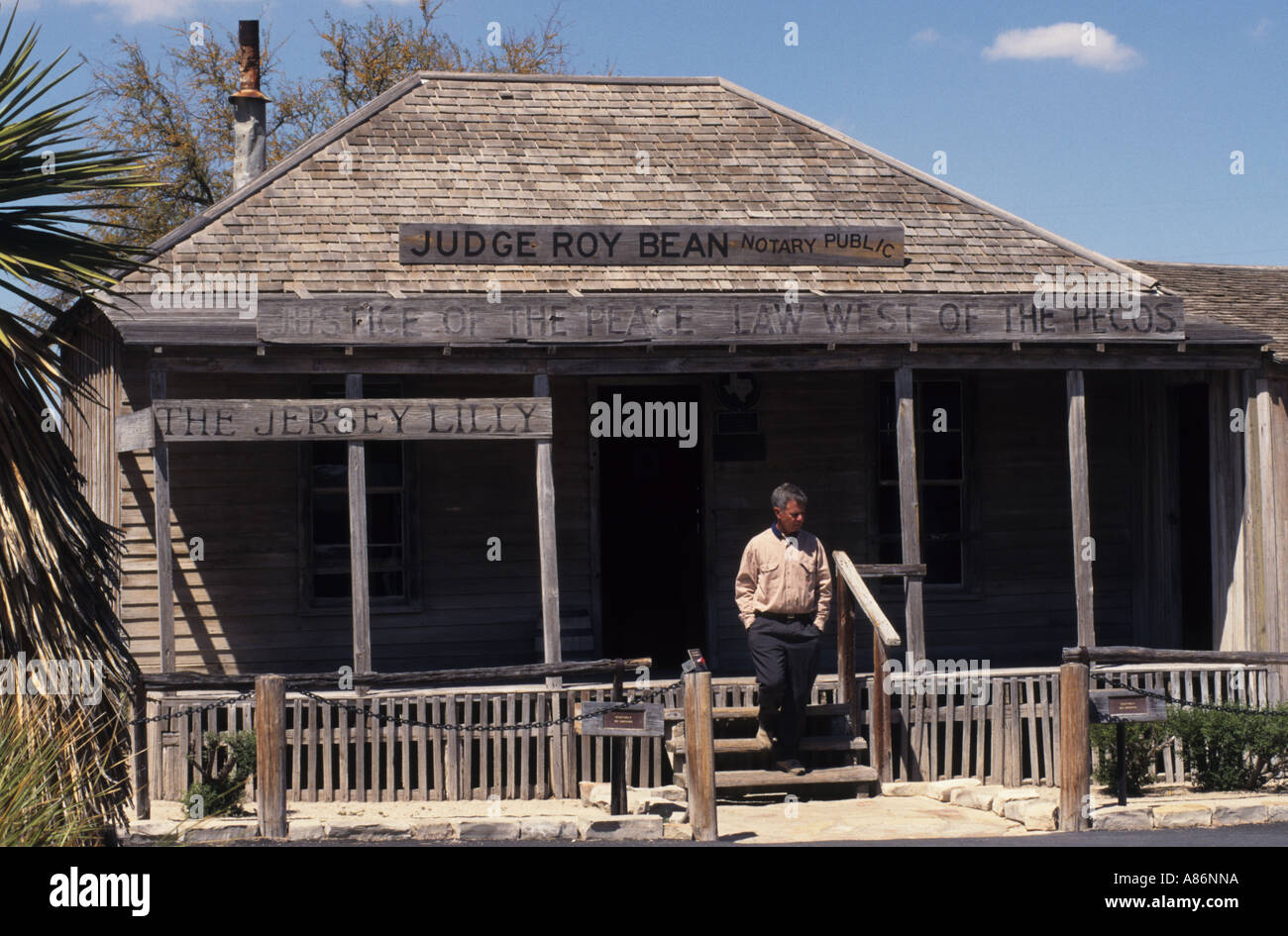 United States Texas USA Langtry Judge Roy Bean's  Courthouse and saloon Jersey Lilly Texas Stock Photo