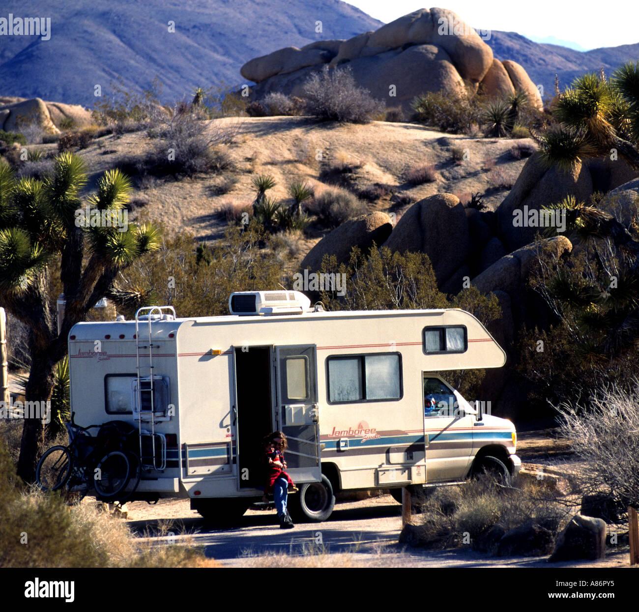 Camping Camper Usa Joshua Tree National Park Stock Photo