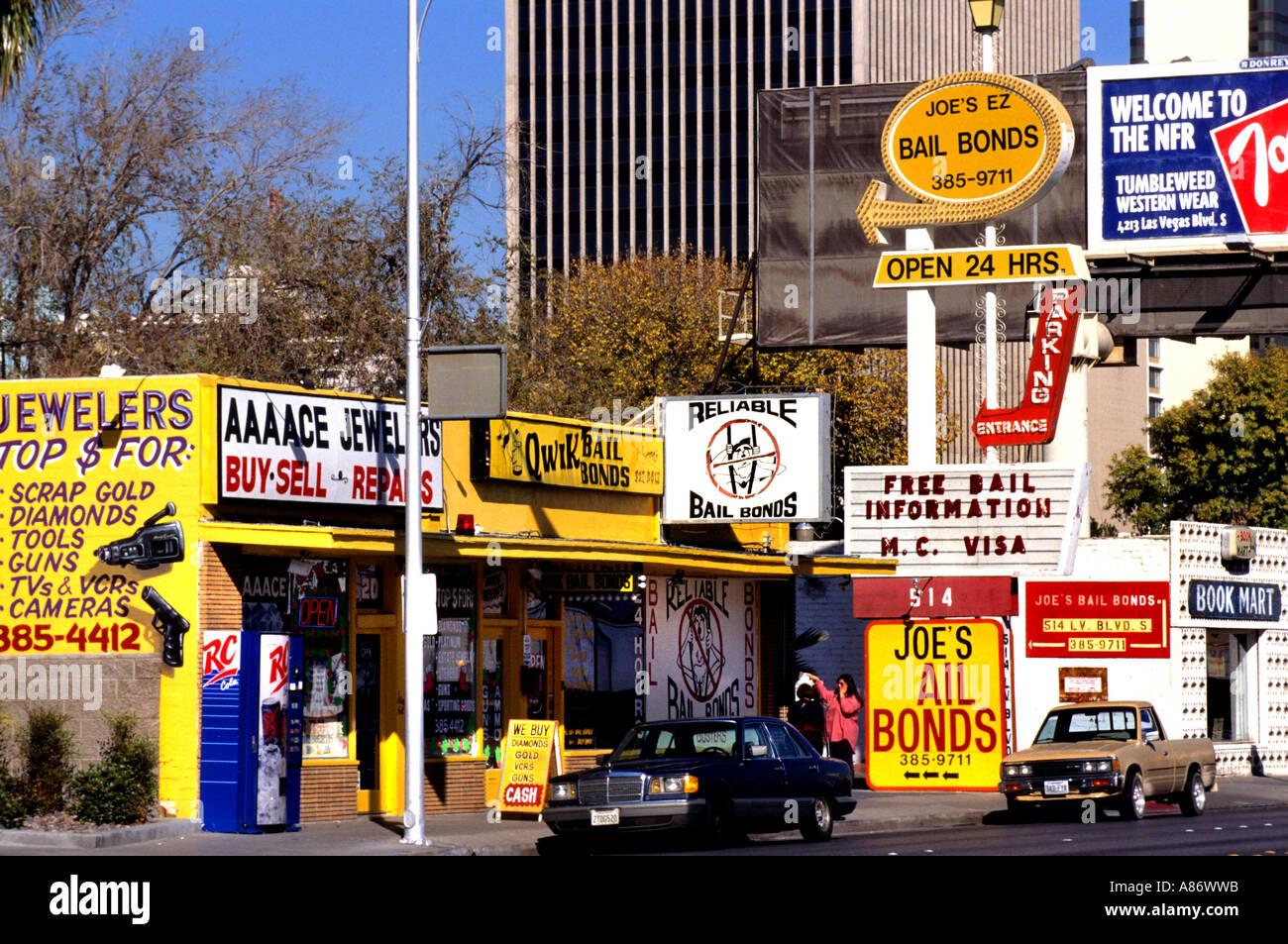 Bail bonds Pawn Shop Nevada Las Vegas Sell Buy  pawnbrokers - Stock Image