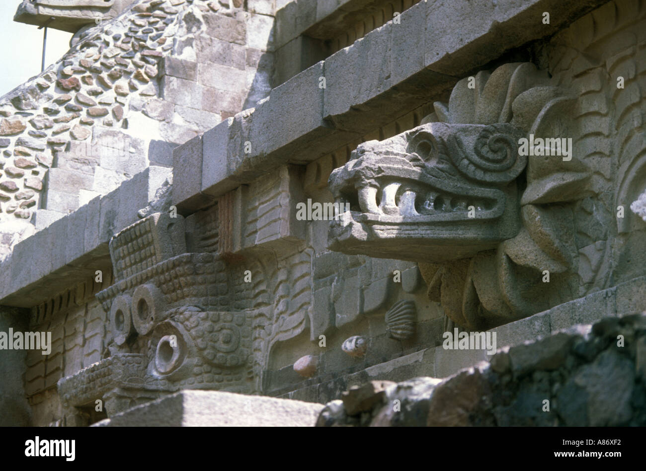 Feathered serpent pyramid at Teotihuacan Stock Photo