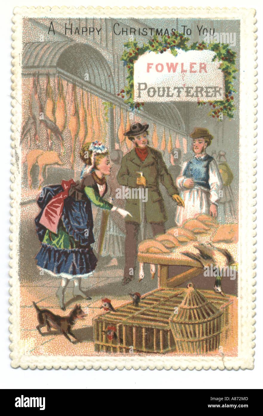 Christmas greetings card circa 1875 - Stock Image