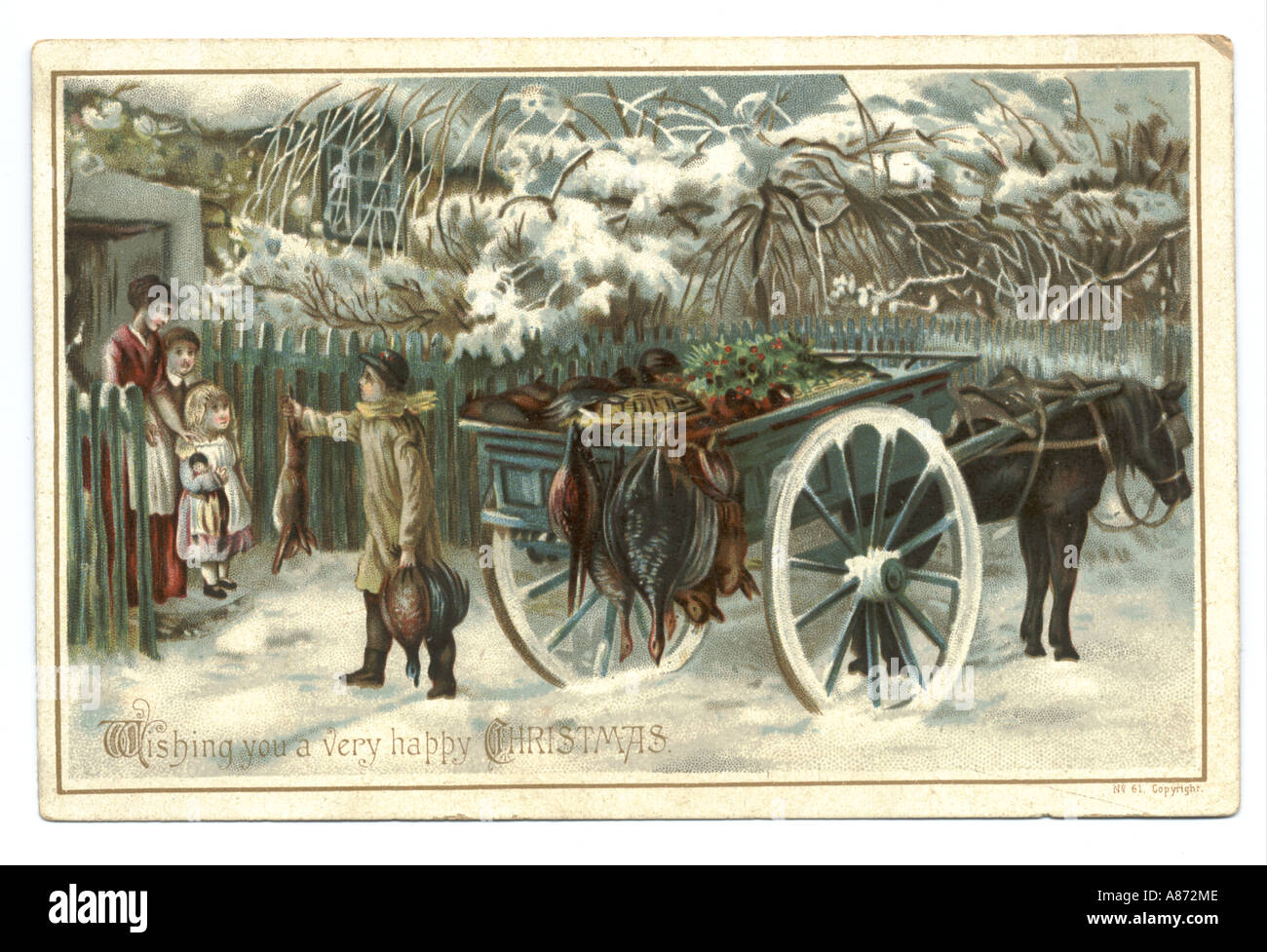 Christmas greetings card received 1877 - Stock Image
