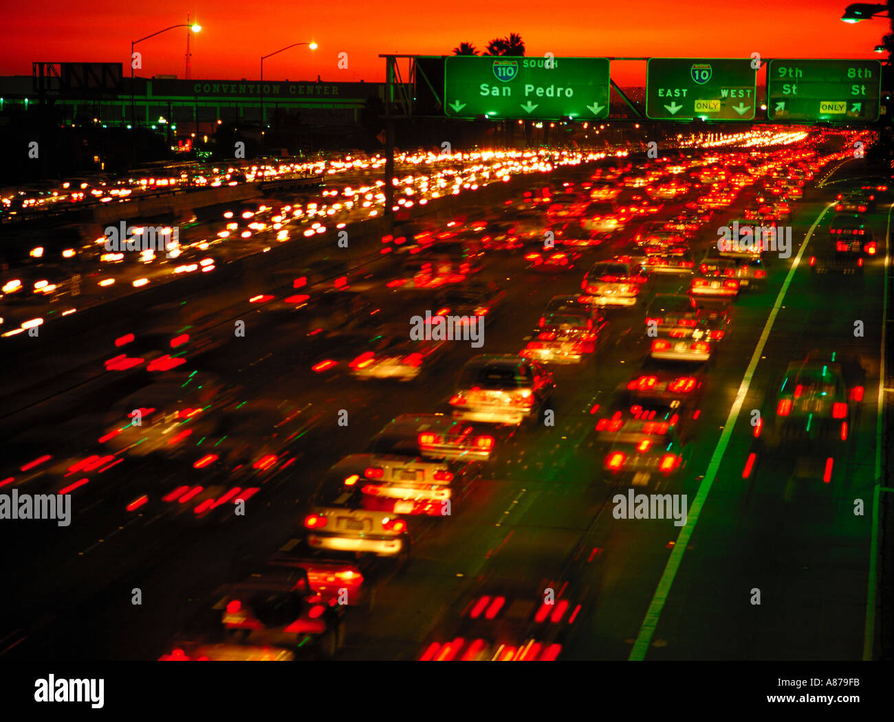 Blurred lights of traffic on a freeway at night Los Angeles California  sc 1 st  Alamy & Blurred lights of traffic on a freeway at night Los Angeles Stock ...