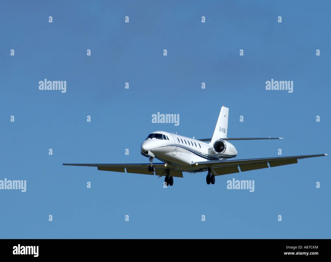 Cessna 680 Citation Sovereign Approaching Dalcross Airport Inverness Scotland UK - Stock Image