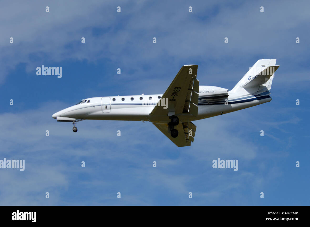 Citation Sovereign, Executive Twin Engined Jet.Approaching Inverness Airfield Scotland UK - Stock Image