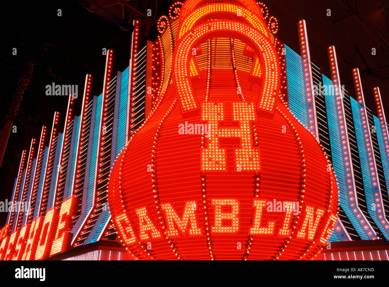 Gambling sign in neon lights outside the Horseshoe Hotel and Casino Las Vegas Nevada - Stock Image