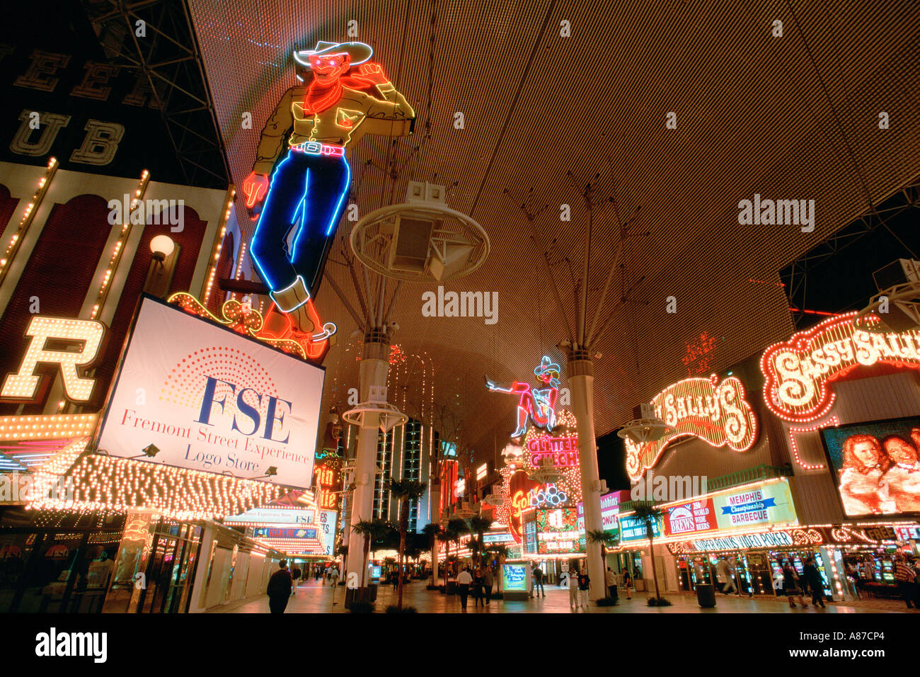 Casino neon lights on Freemont St in downtown Las Vegas Nevada - Stock Image