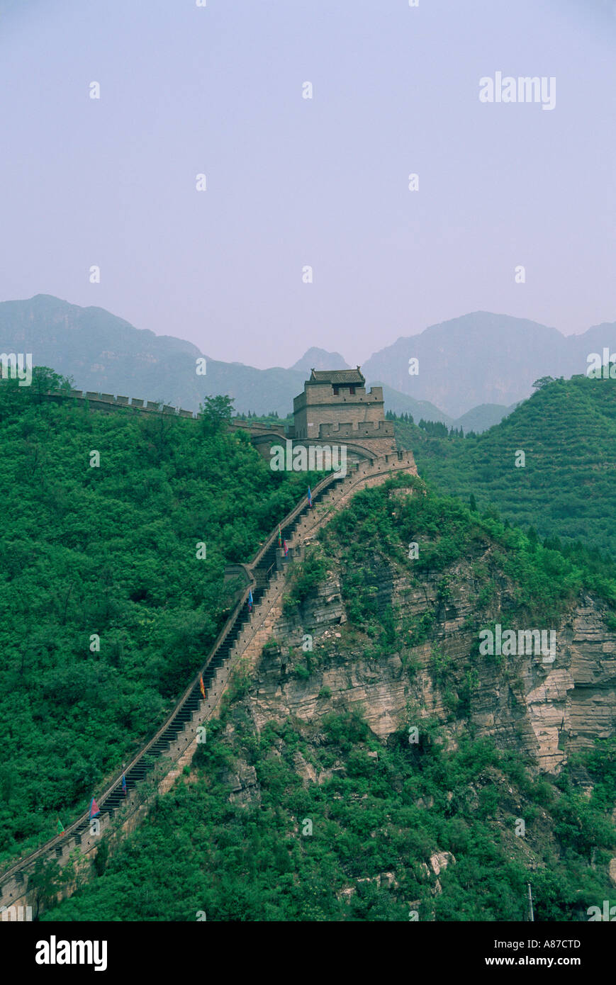 Aerial view of the Great Wall of China in Badaling China - Stock Image