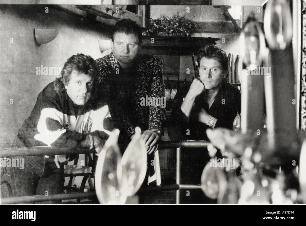EMERSON LAKE AND PALMER  Promotional photo of UK rock group from left Keith Emerson, Greg Lake and Carl Palmer about 1980 - Stock Image