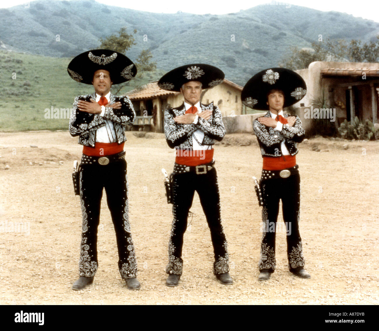 THREE AMIGOS 1982 Orion film with from left Chevy Chase, Steve Martin, Alfonso Arau - Stock Image