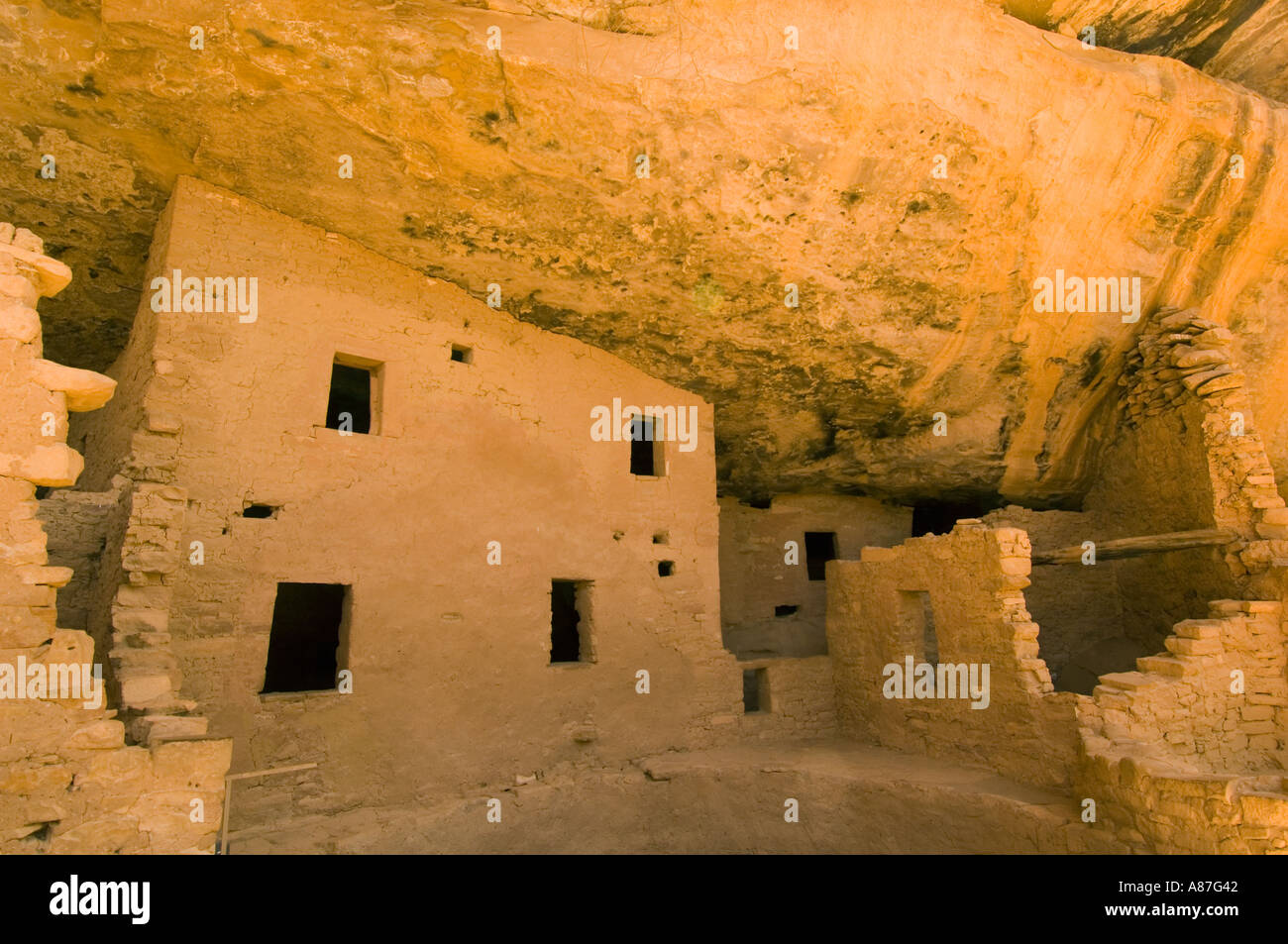 Spruce House Ruins, Mesa Verde National Park, Colorado, Well-preserved Anasazi Puebloan village - Stock Image