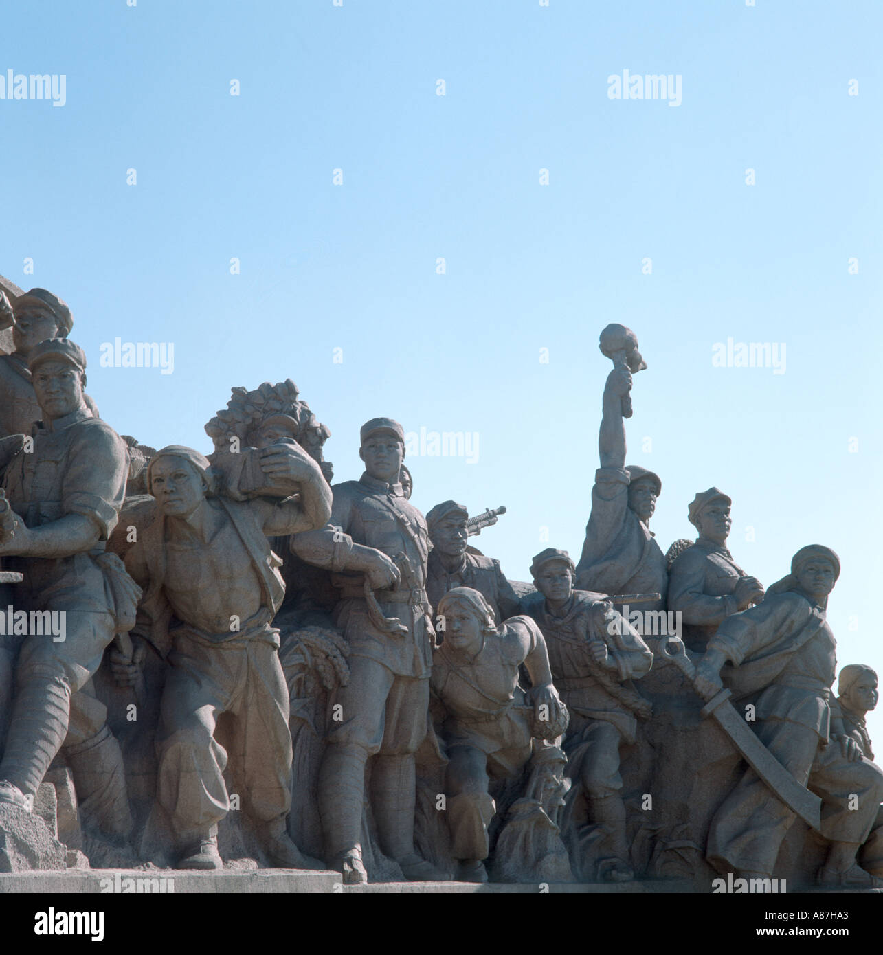 Statues in front of Mao Memorial Hall, Tiananmen Square, Beijing China - Stock Image