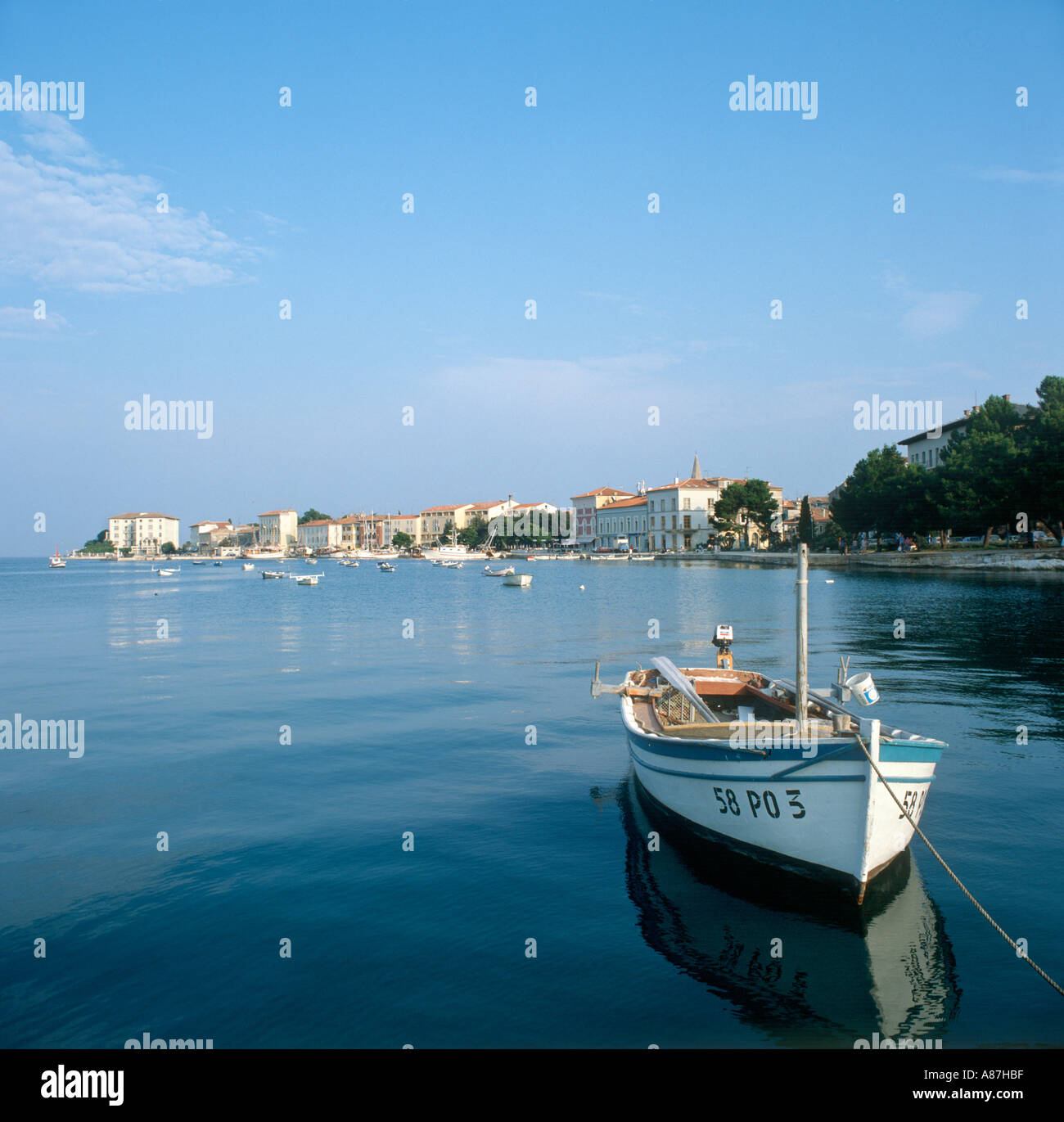 Harbour in 1986 (remarkably unchanged today), Porec, Istria, Croatia - Stock Image
