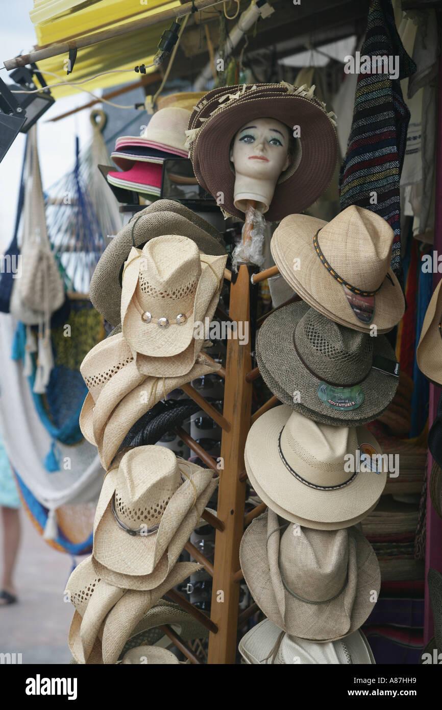 Playa Del Carmen Mexico Hats for sale souvenirs Stock Photo  6864856 ... 6e582004bc7