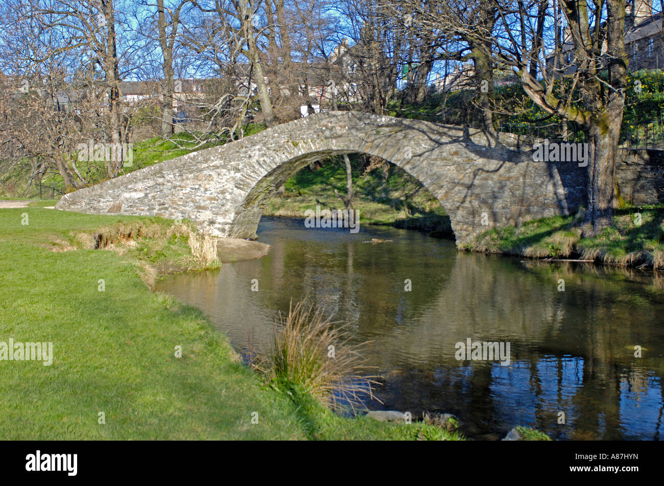The Auld Brig Keith over the River Isla Stock Photo