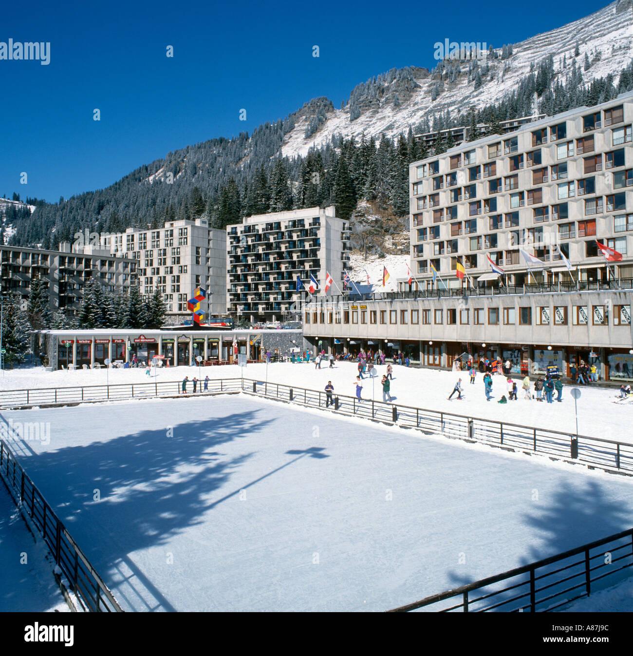 Skating Rink in Flaine Forum, Flaine, Grand Massif Ski Region, Haute Savoie, France Stock Photo