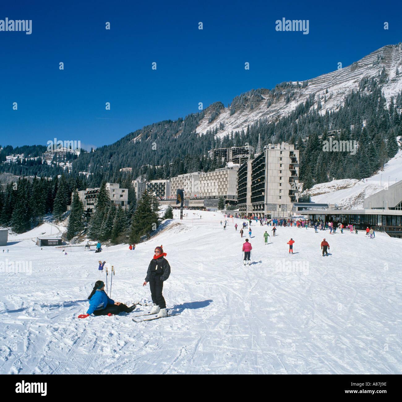 View from the slopes towards Flaine Forum, Flaine, Grand Massif Ski Region, Haute Savoie, France Stock Photo