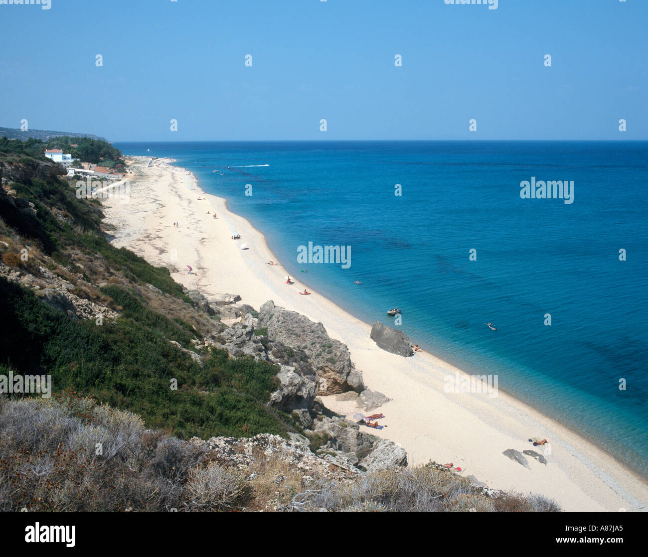 Hilltop view over Skala beach, Kefalonia, Ionian Islands, Greece - Stock Image
