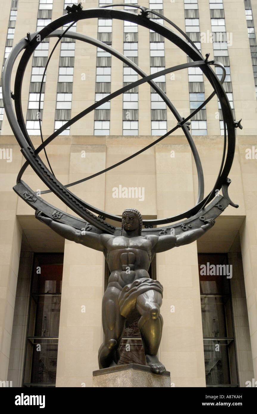 Atlas sculpture by Lee Lawrie Rockefeller center New York city USA - Stock Image