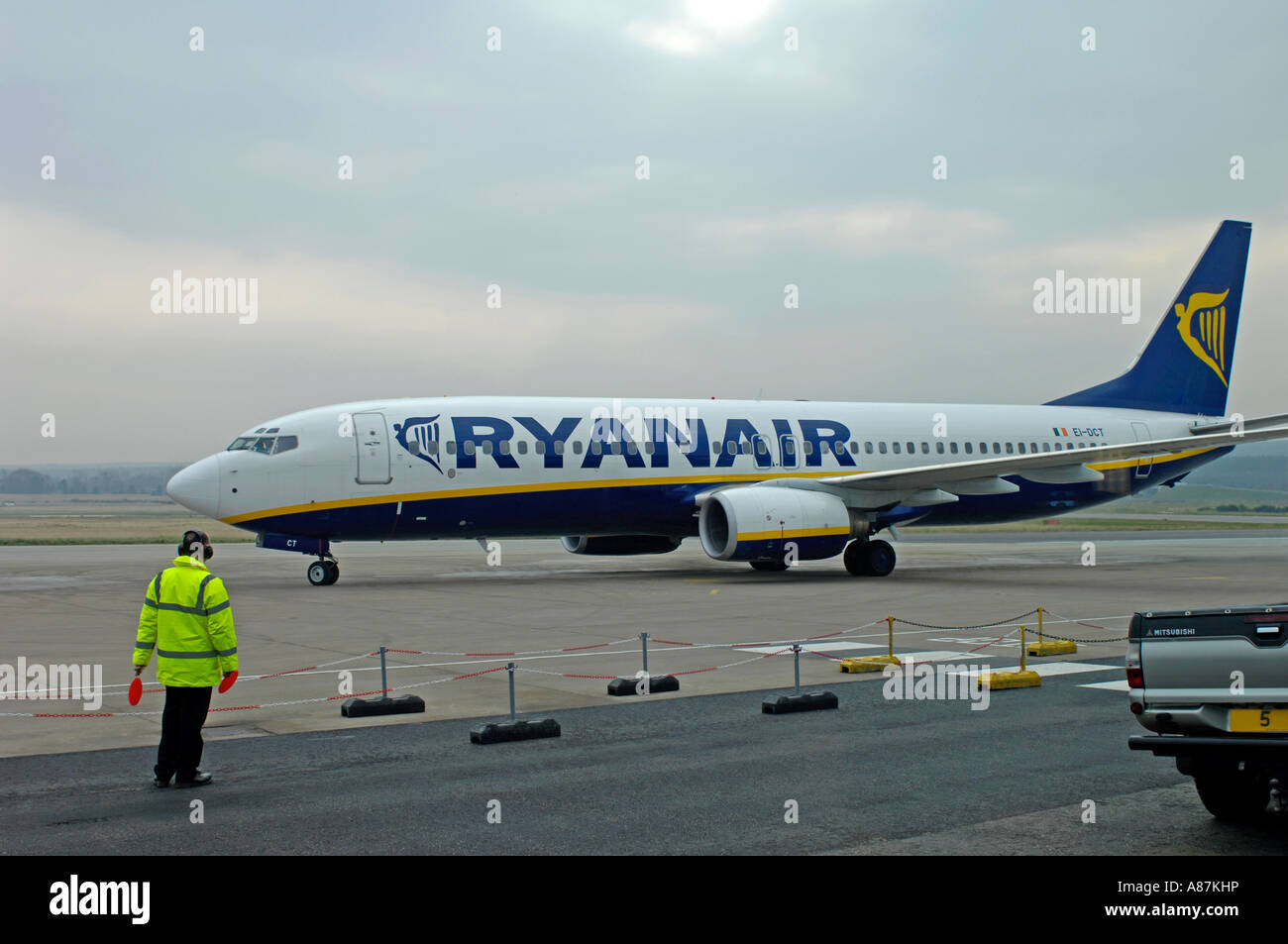 Dalcross Arrival Ryanair Boeing 737-8AS on the airfield Stand - Stock Image