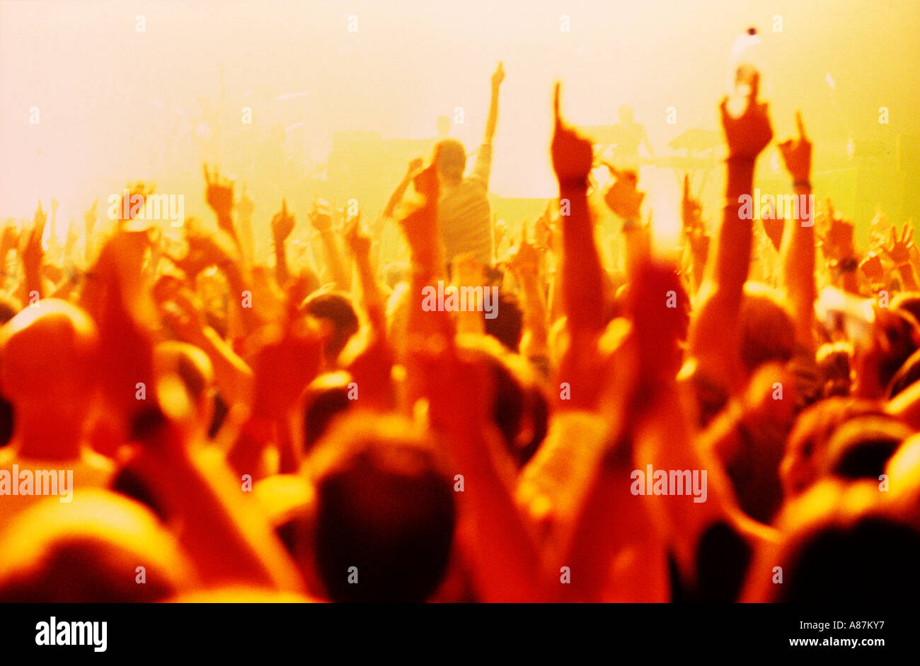 Crowd with hands in the air at a gig - Stock Image