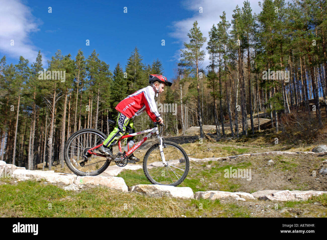 Mountain Biking Centre for all ages Strathmashie Inverness-shire Scotland Stock Photo